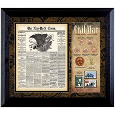 New York Times Civil War Coin and Stamp Wall Framed Memorabilia