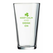 """Pint """"Keep Calm and Drink On"""" Green Design Glass (Set of 4)"""