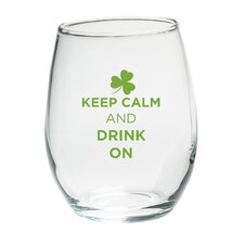 """""""Keep Calm and Drink On"""" Green Design Stemless Wine Glass (Set of 4)"""