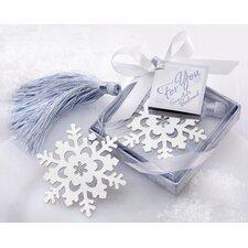 ''Snowflake'' with Elegant Ice-Blue Tassel Bookmark (Set of 12)