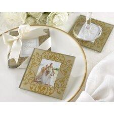 """Golden Brocade"" Elegant Glass Photo Coaster (Set of 10)"