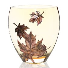 Hand Painted Glass Autumn Leaves Series II Vase