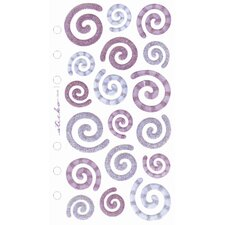 Flat Vellum and Glitter Swirl Sticker (Set of 5)