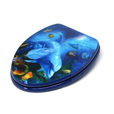 3D Ocean Series Dolphin Mother and Calf Elongated Toilet Seat