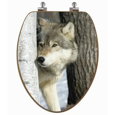 3D Upland Series Wolf Behind A Tree Elongated Toilet Seat