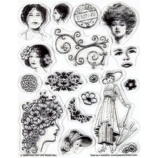 Vintage Ladies Clear Stamp Set