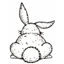 Mounted Rubber Bunny Butt Stamp