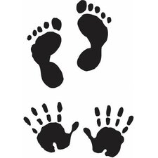Mounted Rubber Baby Hands & Feet Stamp (Set of 2)