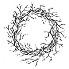 Mounted Rubber Vine Wreath Stamp