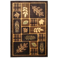 Rustic Leaves Chocolate & Natural Area Rug