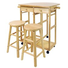 3 Piece Kitchen Island with Wooden Top & Stool Set