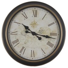 """Oversized 24"""" Antique Map Wall Clock"""