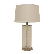 "Quadrafoil Etched Glass 28.5"" Table Lamp with Drum Shade"