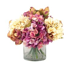Hydrangea Floral in Tall Glass