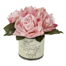 Rose Inspirational Floral Bouquet in Decoupage Glass Vase