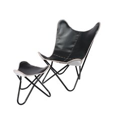 Horizon Black Leather Butterfly Chair and Ottoman