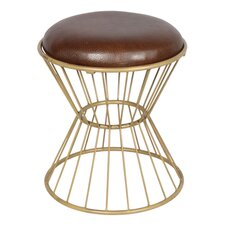 Faux Leather Wire Frame Stool