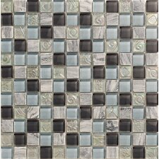 Yukon Stone and Glass Mosaic Tile in Blue and Silver