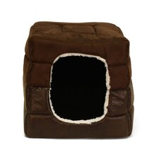 Faux Leather 2-in-1 Pet Cube Cuddler