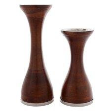 2 Piece Safari Wood Nina Candlestick Set
