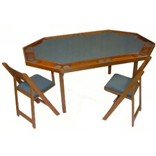 "72"" Oak Deluxe Folding Poker Table Set"