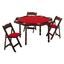 "57"" Oak Period Style Folding Poker Table Set"