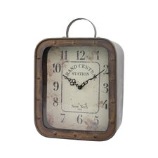 Rustic Retreat Grand Central Station Square Tabletop Clock