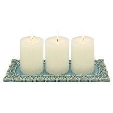Marketplace est. 2014 Ceramic Worn Fleur De Lis Candle Dish (Set of 2)