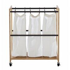 EcoStorage™ 3 Bag Bamboo Laundry Cart