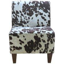 Penelope Armless Cowhide Brown Slipper Chair