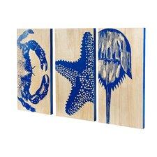 Crustacean Trio Panels Wall Art (Set of 3)