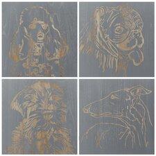 Dog 4 Piece Graphic Art Plaque Set