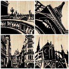 Paris City 4 Piece Graphic Art Plaque Set