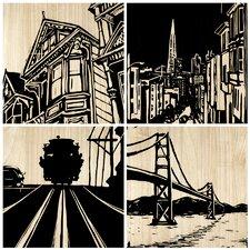 San Francisco City 4 Piece Graphic Art Plaque Set