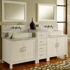 """Horizon 84"""" Double Premium Bathroom Vanity Set with Mirror"""