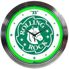 """15"""" Rolling Rock Beer Neon Clock"""