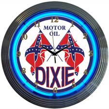 """Cars and Motorcycles 15"""" Dixie Motor Oil Wall Clock"""