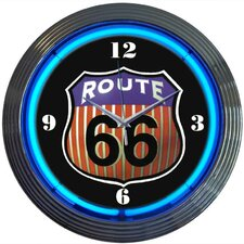 """Cars and Motorcycles 15"""" Route 66 Wall Clock"""