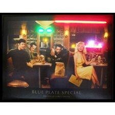 Blue Plate Special Neon LED Framed Vintage Advertisement