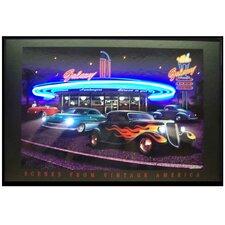Galaxy Diner Neon LED Framed Vintage Advertisement