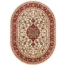 Barclay Medallion Kashan Traditional Ivory Area Rug
