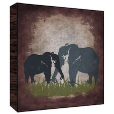 Vintage Elephants Wall Art on Wood