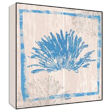 Coral Textual  Wall Art on Wood in Blue