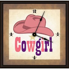 "Cowgirl Hat 16"" Art Wall Clock"