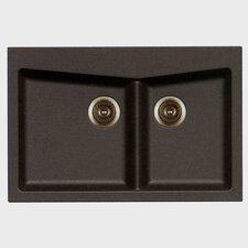 "33"" x 22"" Double Basin Granite Composite Drop-in Kitchen Sink"