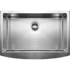 """33"""" x 22.25"""" Curved Apron Front Single Bowl Undermount Kitchen Sink"""