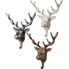 Stag Head Wall Hook (Set of 3)