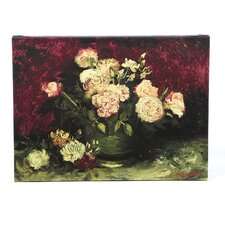 """""""Roses and Peonies"""" by Vincent Van Gogh Painting Print on Wrapped Canvas"""