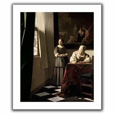 'Lady Writing a Letter with Her Maid' by Johannes Vermeer Canvas Poster