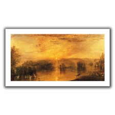 'The Lake, Petworth Sunset, a Stag Drinking' by William Turner Canvas Poster